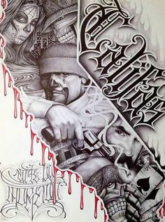 This beautiful variation from traditional Latino art has the traditional form, style, and content. And it also has a new element, the collage is surrounded, bordered; by the central subject. Chicano Art Tattoos, Chicano Drawings, Gangsta Tattoos, Gangsta Quotes, Tattoo Design Drawings, Tattoo Sketches, Tattoo Designs, Gangster Drawings, Badass Drawings