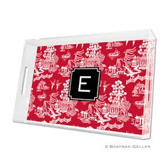 Chinoiserie Red Lucite Tray. A must-have for the holiday season!