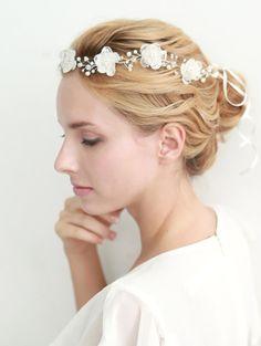 Flower hair wreath, lace wreath, grecian, bridal halo, wedding headband, hair - style 210 on Etsy, $85.00