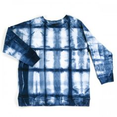 Shibori 3/4 Sleeve Sweatshirt in sizes XS-XL. 100% cotton & 100% made in California. Hand dyed with natural indigo by Mineral Workshop.