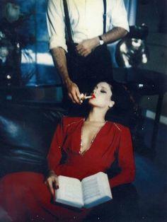 Helmut Newton, red lipstick, sigaret, men woman