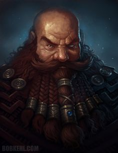 A crafty Dwarf who's made his way around. Love the scarred, blinded eye effect, and you can tell, as most Dwarves do, he takes great pride in his magnificent beard, with many great braids