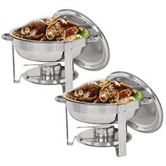 DOUBLE FOOD DISH WARMER CHAFING CHROME PLATE BURNER HEAT WARM 2 FREE CANDLE