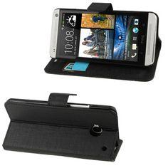 HTC One flip cover, case, hoesje, frontje Zwart
