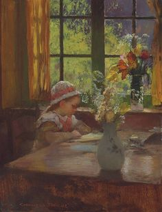 """A young girl with bonnet reading by a window"".  Gaston La Touche"