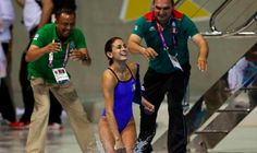 Mexico's Paola Espinosa is thrown into the pool by her coaches after she and diving partner Alejandra Orozco won silver in the women's synchronised platform final Paola Espinosa, Natural Health, Wetsuit, Coaching, Sporty, Diving, Platform, Silver, Fashion