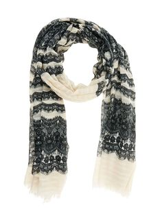 Lace-printed scarf   This cream coloured scarf with dark grey lace print will make a stunning gift for a special friend, or yourself