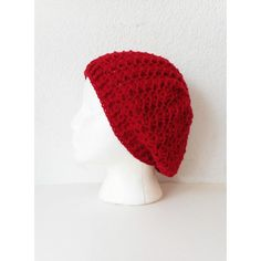 Lacy Red Slouch Beanie Hat, ready to ship. (€38) ❤ liked on Polyvore featuring accessories, hats, lace hat, pattern hats, red slouchy beanie, print hats and slouchy beanie hat