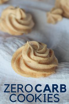 Zero Carb Almond Cloud Cookies are perfect for keto diets. These keto cookies are amazing and light. Check out these zero carb cookies today and keep your keto diet safe. Zero carb desserts are where it is at when you want a tasty keto dessert! Desserts Keto, Keto Friendly Desserts, Dessert Recipes, Keto Snacks, Diabetic Snacks, Cookie Recipes, Keto Cookies, Meringue Cookies, Almond Cookies