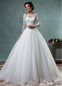 Stunning Lace & Tulle Bateau Neckline A-line Wedding Dresses with Beaded Lace Appliques