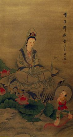 """Guanyin is the bodhisattva associated with compassion, usually as a female. The name Guanyin is short for Guanshiyin, which means """"Observing the Sounds of the World"""". Some Buddhists believe that when one of their adherents departs from this world, they are placed by Guanyin in the heart of a lotus, and then sent to the western pure land of Sukhāvatī. Guanyin originated as the Sanskrit Avalokiteśvara known as the Goddess of Mercy."""