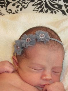 Infant Flower Headband Grey Baby Girl by JoMazingAccessories, $5.99 by cathleen