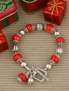 Red Coral and Sterling Silver Bracelet from sundancegems on Ruby Lane