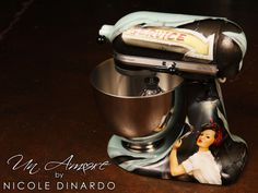 """""""Rosie"""" Edition Custom painted KitchenAid Mixer, pinup theme, vintage green with sputniks by © NICOLE DINARDO of UN AMORE"""