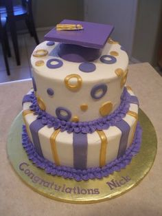 Graduation cake in purple and gold.