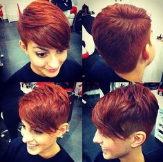 Red Pixie Haircut with Side Long Bangs
