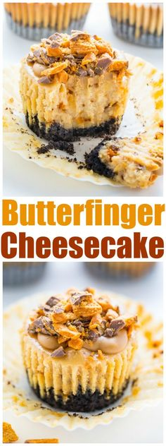 Mini Peanut Butter Butterfinger Cheesecakes - Baker by Nature - Incredibly delicious Mini PEANUT BUTTER Butterfinger Cheesecakes! Mini Desserts, Desserts Keto, Mini Cheesecake Recipes, Cheesecake Cups, Just Desserts, Dessert Recipes, Plated Desserts, Baking Recipes, Peanut Butter Cheesecake