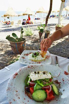 Lunch in Kamari Beach, Santorini