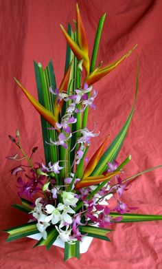 Makana Aloha tropical flowers assortment with heliconia and orchids.