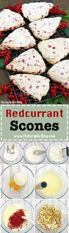 These Redcurrant Scones are light moist and fluffy every bight melt in your mouth They make a perfect breakfast brunch or an afternoon coffee break Yummy Treats, Delicious Desserts, Dessert Recipes, Yummy Food, Breakfast Recipes, Homemade Scones, Home Baking, Perfect Breakfast, Girl Blog