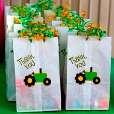 Thank you goodie bags for John Deere themed party