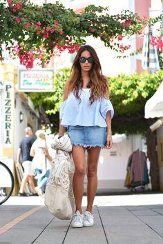 shoulder shirt, denim skirt | stellawantstodie