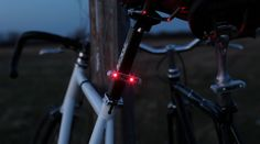 Dual LED bike light that uses an accelerometer and photosensor to light up only when you're moving and it's dark.