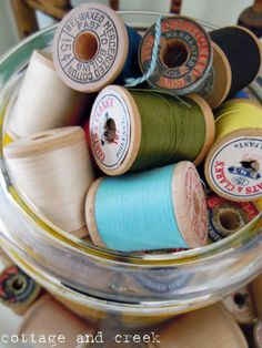 Colorful spools of old thread.