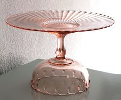 "14"" Pink Cake Stand / Vintage Glass Cake Plate / Cake Dish / Cake Platter / Pastel Pink Weddings, Sweet 16 Birthday or Girl Baby Showers on Etsy, $160.00"