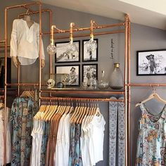 We are so proud to announce that we are opening our first boutique in Vail, Colorado! Come visit us at 1 Willow bridge rd today! Boutique Decor, Boutique Interior, Clothes Shelves, Clothing Store Design, Open Wardrobe, Retail Store Design, Wardrobe Design, Pipe Furniture, Beauty Room
