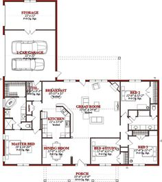 Traditional Style House Plan - 4 Beds 2 Baths 2523 Sq/Ft Plan #63-227 Main Floor Plan - Houseplans.com