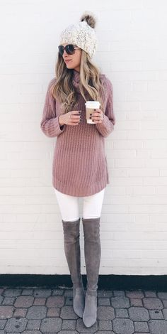 #fall #outfits beige bubble hat, pink sweater, white pants, and pair of gray knee-high boots. Click To Shop This Look.