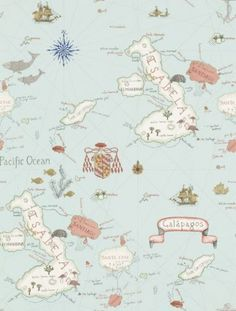 Galapagos (213364) - Sanderson Wallpapers - A vintage map wallpaper design, depicting Darwin's archipelago. This wallpaper features islands and also the animals which inhabit the specific island. Shown here in pale blue. Other colourways are available. Please request a sample for a true colour match. Paste-the-wall product.