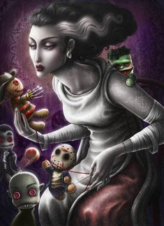 Horror art.. love the iconic stuffies