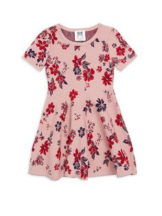 Milly Minis Little Girl's & Twilight Floral Flare Dress - Pale Pink 4-5