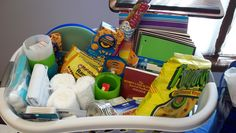 high school graduation gift (college survival kit): Worst Case Scenario College Survival Guide, notebooks, folders, pens, pencils, highlighters, white-out, post-its, stapler, duct tape (zebra print), bubbles (for those study breaks), plastic dishes, ramen, mac and cheese, favorite candy and snack foods, towels, shower liner, bandages, cotton balls, q-tips, ibuprofen, etc.