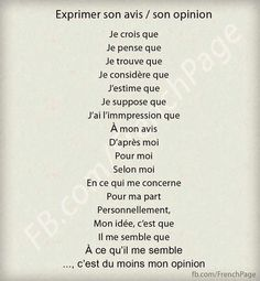 exprimer son avis / opinion