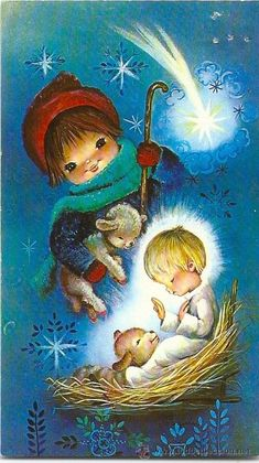 ♥ , from Iryna Merry Christmas Images, Vintage Christmas Cards, Christmas Time, Christmas Illustration, Cute Illustration, Old Cards, Catholic Kids, O Holy Night, God Pictures