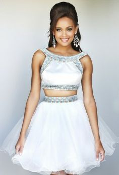 Cheap Ivory Sherri Hill 21317 Beaded Two Piece Flared Short Homecoming Dress Homecoming Dresses 2014, Two Piece Homecoming Dress, Cute Prom Dresses, Long Prom Gowns, Short Prom, Prom 2014, Dress Prom, Awesome Dresses, Dance Dresses