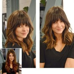 Lob Haircut With Arched Bangs Hairstyles With Bangs, Cool Hairstyles, Full Fringe Hairstyles, Celebrity Hairstyles, Manga Hairstyles, Wedding Hairstyles, Plus Size Hairstyles, Medium Hair Styles, Curly Hair Styles
