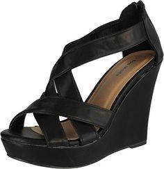stunning Top Moda Ella-18 Women's Gladiator Wedge Heel Sandals
