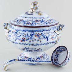 Minton Fuschia blue with colour Soup Tureen with Ladle c1825