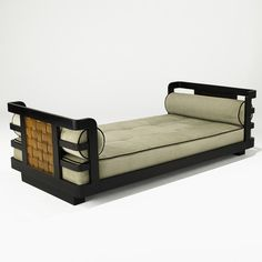 Andre Sornay; Lacquered Wood and Mahogany Daybed, 1940s.