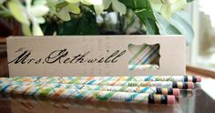 PERSONALIZED Pencils and Pencil Box -Customized Paper and Greetings by RightBrainy Birthday Gifts, Happy Birthday, Personalized Pencils, Pencil Boxes, Color Box, Office And School Supplies, You're Awesome, Congratulations, Greeting Cards