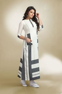 Picture of Fetching white & grey designer kurti | Indian