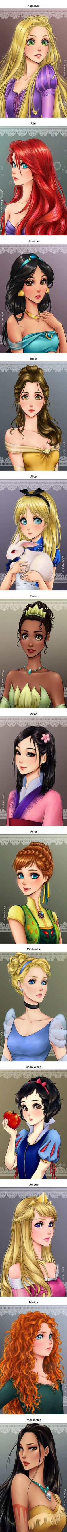 What Disney Princesses Would Look Like If They Were Anime Characters (By Maryam)