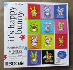 """it's happy bunny 300 piece Poster PUZZLE Jim Benton 19""""x28"""" SURE-LOX gift NEW #TheCanadianGroup"""