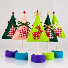 Enchanted forest -Whimsical Felt Christmas Trees with Gingham Polka Dots Waldorf Inspired Decorations - via Etsy.