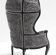Zebra Print Versailles Chair with Nail Heads