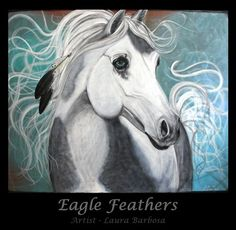 """Eagle Feathers"" Horse Portrait  by Laura Barbosa"